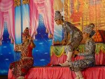 Ταϊλανδική ψυχαγωγία στο ταϊλανδικό νέο έτος Στοκ Φωτογραφία