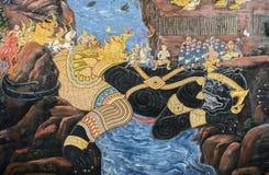 Ταϊλανδική Mural νωπογραφία του έπους Ramakien στο μεγάλο παλάτι σε Bangko Στοκ εικόνα με δικαίωμα ελεύθερης χρήσης