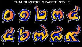 Ταϊλανδικοί αριθμοί στο ύφος γκράφιτι από 0 έως 9 στα κίτρινα χρώματα Στοκ φωτογραφία με δικαίωμα ελεύθερης χρήσης