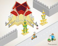 Ταϊλανδικός ναός style&, λατρεία, πωλητής γυναικών, ορόσημο Στοκ Φωτογραφία