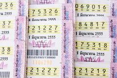 Ταϊλανδικό εισιτήριο λαχειοφόρων αγορών κινηματογραφήσεων σε πρώτο πλάνο Στοκ φωτογραφία με δικαίωμα ελεύθερης χρήσης
