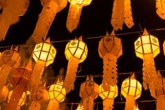 Ταϊλανδικό κρεμώντας φανάρι Yi Peng τη νύχτα Στοκ Φωτογραφία