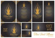 ταϊλανδικό πρότυπο επιλογών εστιατορίων τροφίμων ταϊλανδικό backgro παράδοσης Στοκ Εικόνες