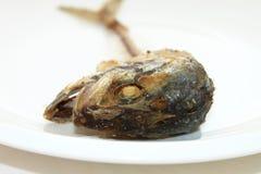 Ταϊλανδικό σκουμπρί κόκκαλων στο άσπρο πιάτο Στοκ Εικόνα