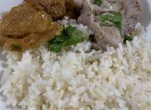 Ταϊλανδικό τηγανισμένο τρόφιμα πλευρό αυγών και χοιρινού κρέατος με το ρύζι στοκ εικόνα