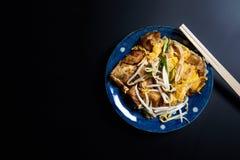 Ταϊλανδικό ύφος, κέικ κραμβών στο μαύρο υπόβαθρο Στοκ Φωτογραφίες