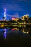Ταϊπέι 101 και μια λίμνη στο πάρκο Zhongshan τη νύχτα, σε Xinyi, Taip Στοκ Εικόνα