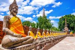 Ταϊλάνδη, σειρά των εικόνων του Βούδα στο ναό Ayutthaya Στοκ Φωτογραφία