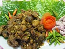 Ταϊλανδικά νότια τρόφιμα, βόειο κρέας που τηγανίζεται με το κάρρυ τσίλι Στοκ φωτογραφία με δικαίωμα ελεύθερης χρήσης