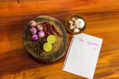 Ταϊλανδικά συστατικά με τη σημείωση στοκ εικόνα με δικαίωμα ελεύθερης χρήσης