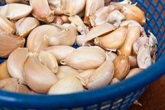 Ταϊλανδικά συστατικά τροφίμων - σκόρδο στο μπλε καλάθι Στοκ φωτογραφία με δικαίωμα ελεύθερης χρήσης