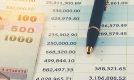 Ταϊλανδικά τραπεζογραμμάτια και επιχειρησιακή λογιστική Στοκ εικόνα με δικαίωμα ελεύθερης χρήσης