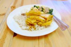 Ταϊλανδικά τρόφιμα ρυζιού και κάρρυ στοκ εικόνα