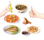 Ταϊλανδικά τρόφιμα στο άσπρο υπόβαθρο Στοκ φωτογραφίες με δικαίωμα ελεύθερης χρήσης
