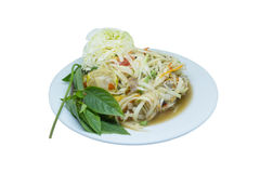 Ταϊλανδικά τρόφιμα, papaya σαλάτα Στοκ φωτογραφία με δικαίωμα ελεύθερης χρήσης