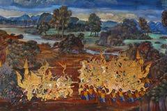 Ταϊλανδικά mural έργα ζωγραφικής Στοκ φωτογραφία με δικαίωμα ελεύθερης χρήσης