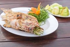 Ταϊλανδική αλατισμένος-εφελκιδώδης ψημένη στη σχάρα συνταγή ψαριών Στοκ Εικόνες