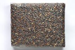 Ταϊλανδική μαύρη jasmine σφραγίδα ρυζιού (μούρο ρυζιού) στην κενή τσάντα Στοκ Εικόνες