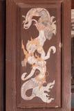 Ταϊλανδική παραδοσιακή ζωγραφική στο παράθυρο Στοκ Φωτογραφίες