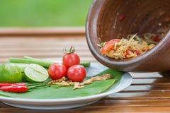Ταϊλανδική πικάντικη σαλάτα, διάσημες ταϊλανδικές επιλογές Στοκ Φωτογραφίες