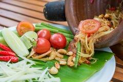 Ταϊλανδική πικάντικη Papaya σαλάτα Στοκ Εικόνες