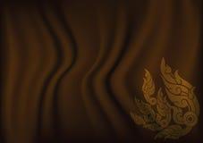 Ταϊλανδική τέχνη για το καφετί υπόβαθρο υφασμάτων Στοκ Εικόνες