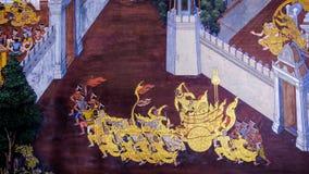 Ταϊλανδική τέχνη ζωγραφικής ύφους παλαιά & x28 1931& x29  από την ιστορία Ramayana σχετικά με τον τοίχο ναών διάσημου Wat Phra Ka Στοκ Φωτογραφίες
