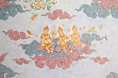 Ταϊλανδική τοιχογραφία αγγέλου Στοκ εικόνα με δικαίωμα ελεύθερης χρήσης