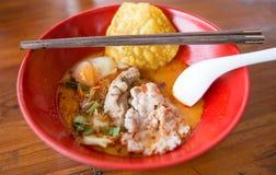 Ταϊλανδική Noodle σούπα με το κρέας Στοκ Φωτογραφία