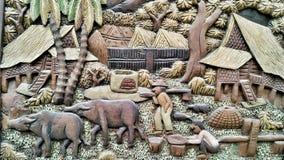 Ταϊλανδικός αγροτικός τρόπος ζωής στην ξύλινη τέχνη Στοκ φωτογραφία με δικαίωμα ελεύθερης χρήσης