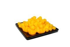 Ταϊλανδικός γλυκός χρυσός επιδορπίων στη μαύρη απομόνωση 0017 πιάτων Στοκ εικόνα με δικαίωμα ελεύθερης χρήσης