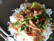 ταϊλανδικός πάγος τροφίμων που ολοκληρώνεται με το ανακατώνω-τηγανισμένους χοιρινό κρέας και το βασιλικό Στοκ εικόνες με δικαίωμα ελεύθερης χρήσης