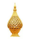 Ταϊλανδικός παραδοσιακός δίσκος λωτού ύφους χρυσός στο λευκό στοκ εικόνα