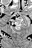 ταϊλανδικός παραδοσιακός ύφους ζωγραφικής Στοκ εικόνα με δικαίωμα ελεύθερης χρήσης