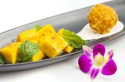 Ταϊλανδικό επιδόρπιο ύφους, μάγκο με το κολλώδες ρύζι Στοκ Εικόνα