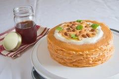 Ταϊλανδικό κέικ υφάσματος κρεπ τσαγιού Στοκ εικόνα με δικαίωμα ελεύθερης χρήσης
