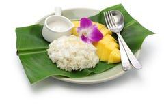 Ταϊλανδικό κολλώδες ρύζι μάγκο, khao niaow μΑ muang Στοκ Εικόνες