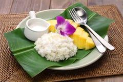 Ταϊλανδικό κολλώδες ρύζι μάγκο, khao niaow μΑ muang Στοκ φωτογραφία με δικαίωμα ελεύθερης χρήσης