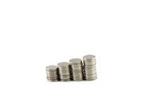 Ταϊλανδικό μπατ βημάτων νομισμάτων που απομονώνεται στο άσπρο υπόβαθρο Στοκ εικόνες με δικαίωμα ελεύθερης χρήσης