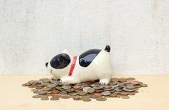 Ταϊλανδικό νόμισμα μπατ σωρών με την τράπεζα σκυλακιών στο υπόβαθρο κοντραπλακέ και ομο Στοκ Φωτογραφία