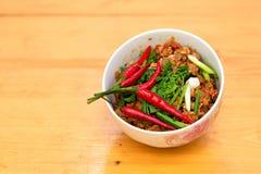 Ταϊλανδικό ορεκτικό τροφίμων, Nam Prik Aong, ταϊλανδικό βόρειο χοιρινό κρέας ύφους Στοκ Εικόνα