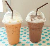Ταϊλανδικό παγωμένο τσάι με την παγωμένη σοκολάτα Στοκ φωτογραφία με δικαίωμα ελεύθερης χρήσης