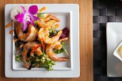 Ταϊλανδικό πιάτο γαρίδων Στοκ εικόνα με δικαίωμα ελεύθερης χρήσης