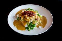 Ταϊλανδικό πιάτο: Μακροχρόνιο τραγούδι κριού Pra, χοιρινό κρέας Blaned με τη σάλτσα φυστικιών και Στοκ Εικόνα