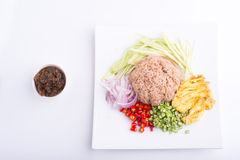 Ταϊλανδικό πιάτο, kapi Kao Kluk, καφετί/πορφυρό τηγανισμένο ρύζι Στοκ φωτογραφίες με δικαίωμα ελεύθερης χρήσης