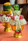 Ταϊλανδικό προσφέροντας πιάτο με areca τα φύλλα καρυδιών και betel για την τελετή Στοκ Φωτογραφίες