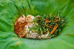 Ταϊλανδικό ρύζι με την πικάντικη σάλτσα Στοκ φωτογραφία με δικαίωμα ελεύθερης χρήσης