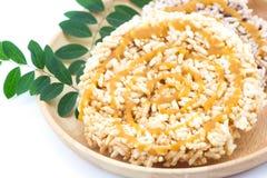 Ταϊλανδικό στρογγυλό και επίπεδο sweetmeat, γλυκό στρογγυλό και επίπεδο sweetmeat Στοκ εικόνα με δικαίωμα ελεύθερης χρήσης