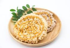 Ταϊλανδικό στρογγυλό και επίπεδο sweetmeat, γλυκό στρογγυλό και επίπεδο sweetmeat Στοκ Εικόνα