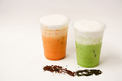 Ταϊλανδικό τσάι και πράσινο τσάι στοκ εικόνα